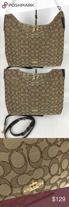 """Coach Celeste Signature Convertible Hobo Authentic. New, with Tags  Coach signature Jaquard Hobo with optional shoulder strap with 22"""" drop. Dual zip top. Fabric lining. 6"""" Shoulder handle drop. Inside zipper, phone and multifunction pocket. 13.5""""L x 9.5"""" H x 5""""D.  Style F55365. RB684  Thank you for your interest!   PLEASE - NO TRADES / NO LOW BALL OFFERS / NO OFFERS IN COMMENTS - USE THE OFFER LINK :-) Coach Bags Shoulder Bags"""