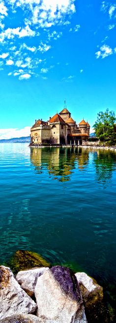 Fairytale Chillon Castle at Geneva lake in Switzerland