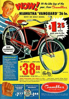 Gambles bike, advertising My brother had a Hiawatha like this. Mine was blue. Vintage Comics, Vintage Ads, Vintage Images, Vintage Posters, 1950s Advertising, Old Advertisements, Papel Vintage, Bike Poster, Vintage Cycles