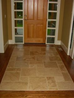 I\u0027ve always hated tile at the front door but this is a lovely transition & Slate entryway to protect hardwood floors at French Door. for when ... Pezcame.Com