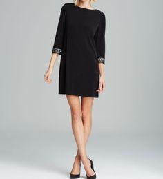 Laundry By Shelli Segal Black Beaded Cuff Sheath Dress Three Quarter Sleeve, 2 #Laundry #Sheath #LittleBlackDress #Size:2