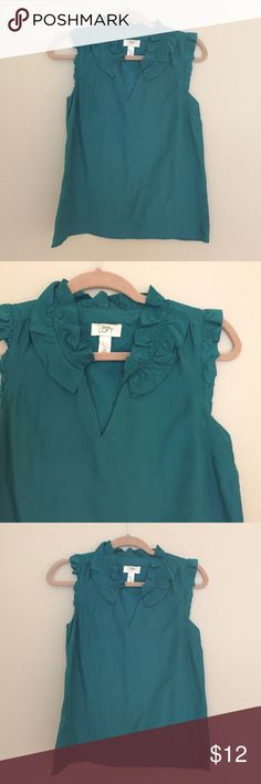 LOFT Top Lined teal top with ruffle detail at neck and arms. V slit at front. 70/30 Cotton/Silk Blend. LOFT Tops Blouses