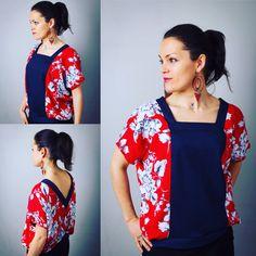 Top kimono t-shirt pour femme, ethnique et romantique, bohème, flowers, Rouge et Jean bleu, denim, red, Japan, ethnic, romantic de la boutique AllByK sur Etsy