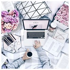 Flatlay Styling   Flat lay Photography   My cozy little workspace  Flowers and coffee in bed always make for the best end to a busy day