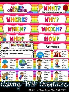 Teach students about WH questions with this pack. Great for speech therapy and vocabulary development! Included; 1) Why do we ask questions? poster 2) Posters for each question with explanation of when to use; what, where, why, when, which, who, how 3) Poster with all 7 types; great as a quick reference page 4) Worksheet 5) Asking Questions game: visual prompt with question stems. Students must use the stems to ask questions about the picture. 24 cards.