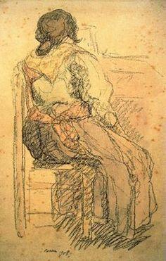 """""""Gitana de espaldas, 1908"""". Pastel y acuarela. 48 x 32 cms. Gabinete de Dibujos y Grabados del MNAC, Barcelona. España."""