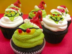 Grinch Cupcakes for school Christmas Party.