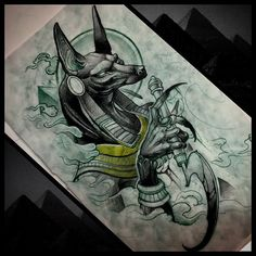 anubis Green Things schoolboy q color green lyrics Symbol Tattoos, Body Art Tattoos, New Tattoos, Sleeve Tattoos, Tatto Ink, Tatoo Henna, Tatoo Art, Fenrir Tattoo, Anubis Tattoo