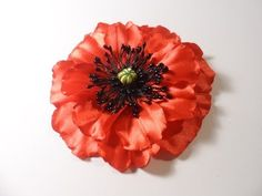 Mack of satin ribbons, Lessons for Beginners kanzashi / DIY Poppy Flower - YouTube - could probably make these poppies on stems
