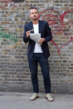 Coggles Fashion - London Street Style with navy tailored blazer, white t-shirt, navy chinos and ivory brogues. #streetstyle #menswear #fashion