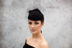 Black Widow Cocktail Hat in Wool Felt, with Exquisite Vintage Silk Veiling, Races Hat