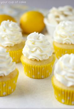 Lemon White Chocolate Mousse Cupcakes