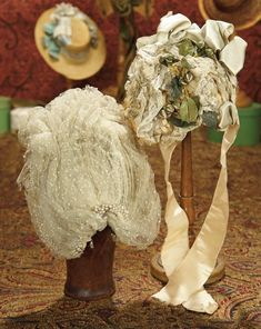 The Memory of All That - Marquis Antique Doll Auction: 33 Gorgeous French Bebe Bonnet with Original Important Milliner's Label
