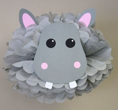 Hippo Hippopotamus pom pom kit jungle safari noahs ark carnival circus baby shower first birthday party decoration