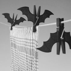 Useful clips shaped like sleeping vampire bats. Perfect for hanging wet washing on the line, but with many more uses, like pinning up photographs of your loved ones or memos at work or keeping the opened bag of cornflakes sealed and fresh.
