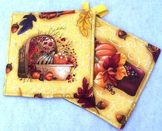 Set of Two Pot Holders featuring Fall by GabbysQuiltsNSupply, #home decor #kitchen #fall