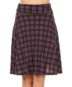 This Purple & Black Plaid A-Line Skirt by One Fashion is perfect! #zulilyfinds