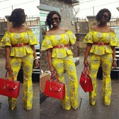 Hello Afro cosmopolitan fashionistas, here are some of the rending ankara pants and tops you should own right now. African Dresses For Women, African Attire, African Wear, African Fashion Dresses, African Women, African Style, African Inspired Fashion, African Print Fashion, Africa Fashion