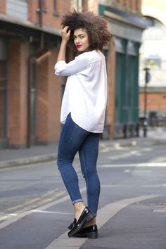 Shirt – Zara (similar here) Jeans – Topshop Shoes – Clarks Anniston Vale loafers