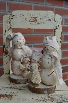 Folk Art Paperclay Personalized Snowman Family