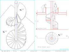 الرسم والاظهار المعماري: لوحة 1/7: الاسقاطات العمودية والاكسنومتري لدرج حلزوني