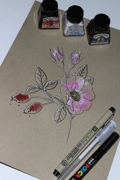 "Day 12: Roseira brava (Escaramujo) ""Rosa canina""   #InkTober #InkTober2016 #InkToberEspaña #FloraDaGaliza Inktober, Rose Trees, Rose Tattoos, Flowers"