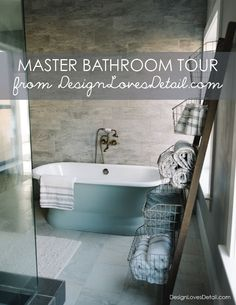 To kick off the week, we finally have a tour of the master bathroom for you! I wanted this room to have an antique feel with modern elements and luxuries + a slight farmhouse & coastal vibe of course... because that's my language. I also wanted to do a different color scheme in this space. A…