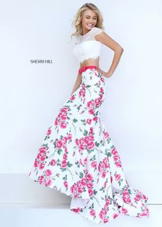 Sherri Hill 50421 Floral Printed Two Piece Mermaid Dress