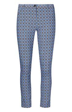 Calças padrão azulejo bengalina azul