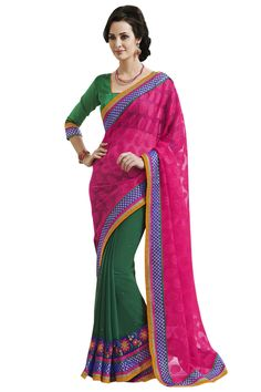 Pink designe party wear saree online from easysarees