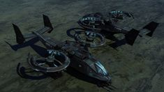 An EU Transport/Gunship. It uses an advanced type of atmospheric ion engine instead of rotors for flight. Armed with 6 Brimstone missiles, 4 Hydra rocket pods, and twin 25mm autocannons. As all EU ...