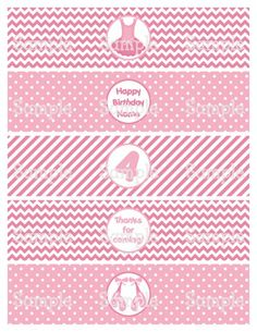Printable Vintage Pink Ballerina Personalized Water Bottle Label Wraps | aMerAZNStyLe - Digital Art  on ArtFire