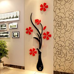 Vase Wall Murals For Living Room Bedroom Sofa Backdrop Tv Background Originality Stickers Gift Diy Decal Decor Decorations Red