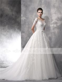 Short Sleevees Bows Belt Beaded Applique Ball Gown