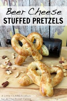Easy Beer Cheese Stuffed Pretzels  - perfect tailgating snacks!  at A Little CLAIREification I found this on #whimsywednesday at http://princesspinkygirl.com/whimsy-wednesday-august-20th/