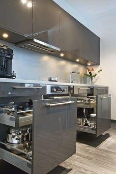 The top-notch Kitchen, white kitchen , contemporary kitchen , kitchen design creativity! Modern Kitchen Interiors, Luxury Kitchen Design, Kitchen Room Design, Modern Kitchen Cabinets, Contemporary Kitchen Design, Kitchen Cabinet Design, Kitchen Layout, Home Decor Kitchen, Interior Design Kitchen