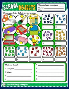 SCHOOL OBJECTS - WORKSHEET 4 http://eslchallenge.weebly.com/packs.html