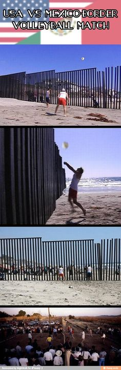 Volleyball match on the border, USA verses Mexico Border.