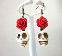 Sugar Skull Earrings Day Of The Dead Jewelry by sweetie2sweetie, $8.99