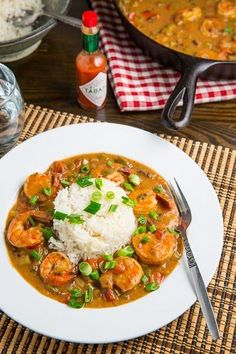 Shrimp Etouffee: I used chicken broth instead of making my own shrimp stock and added two jalapeños when I added the garlic.