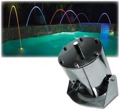Arching stream LED fountain kit with pump & plumbing and color changing lights Backyard Pool Designs, Small Backyard Pools, Swimming Pool Designs, Pool Decks, Indoor Fountain, Pool Fountain, Diy Water Feature, Swimming Pool Water, Color Changing Lights