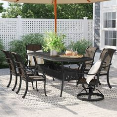 Outdoor Furniture Sets, Outdoor Decor, Traditional Furniture, Oval Table Dining, 7 Piece Dining Set, Dining Room Sets, Yard Design, Outdoor Parties, Swivel Dining Chairs
