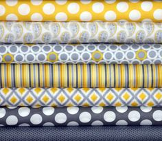 Fat Quarter Fabric Bundle for quilt or craft Jackie Savage McFee Gray Matters by Camelot Cottons 7 Fat Quarters on Etsy, $21.00
