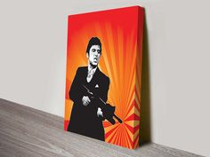 Pop Art design of the classic gangster movie Scarface, print available on stretched canvas print or framed or just paper.