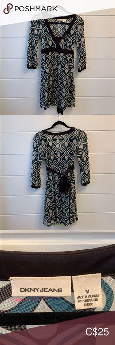 DKNY dress DKNY dress, size M, mesh.  Teal, cream and brown Dkny Dresses Long Sleeve