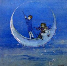 Works on Paper - Ida Rentoul Sherbourne Outhwaite - Page 7 - Australian Art Auction Records Art And Illustration, You Are My Moon, Cresent Moon, Art Watercolor, Cicely Mary Barker, Vintage Fairies, Moon Magic, Moon Art, Moon Moon