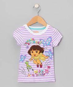 Look what I found on #zulily! Purple Stripe 'Hop Hop' Dora Tee - Toddler by Dora the Explorer #zulilyfinds