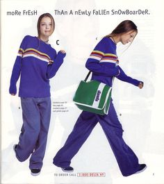 1996 teen fashion. Snowboarder sweaters so oversized, you'd be swimming in them. I vividly remember wanting everything in this Delia's catalog!!!!