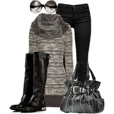 Black in Autumn, created by christina-young on Polyvore