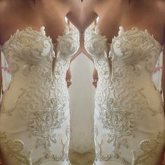 beautiful bodice wedding gown with lots of detail.